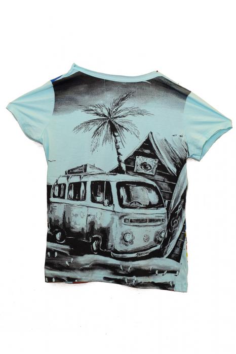 Tricou Hippie Volkswagen - Turcoaz - Dame [1]
