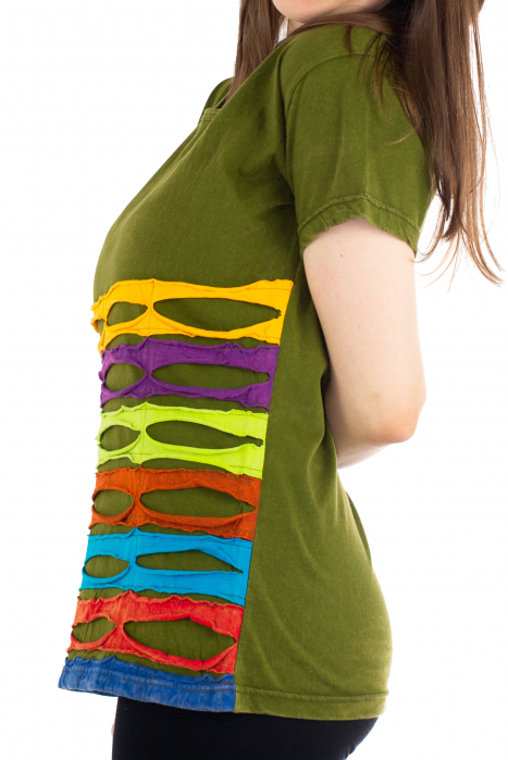 Tricou cu detalii Razor Cut - Verde [2]