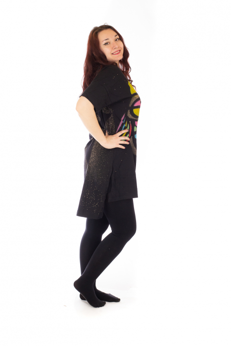 Tricou negru tip tunica cu o Bufnita 4