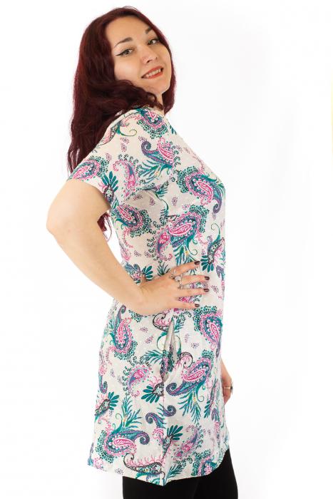 Tunica din bumbac colorat - Alb - Floral [1]