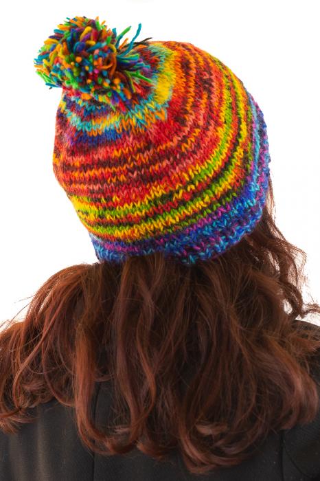 Caciula din lana cu ciucure - Blue Rainbow 3