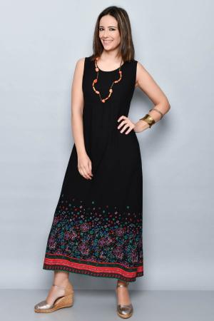 Rochie lunga neagra cu imprimeu - 08.VER21-10320