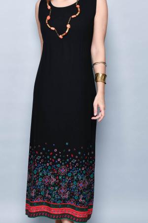 Rochie lunga neagra cu imprimeu - 08.VER21-10323