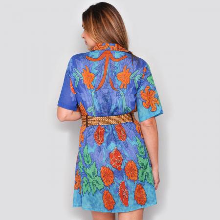 Rochie florala stil camasa, bumbac-MACI1