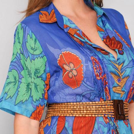Rochie florala stil camasa, bumbac-MACI3