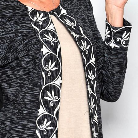Cardigan cu broderie florala - SCURT3
