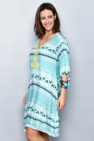 Rochie albastru deschis cu broderie galbena - 38.VER-2100382