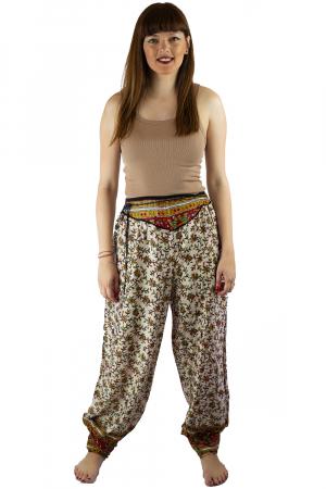 Pantaloni lejeri de vara albi cu floricele - J1010