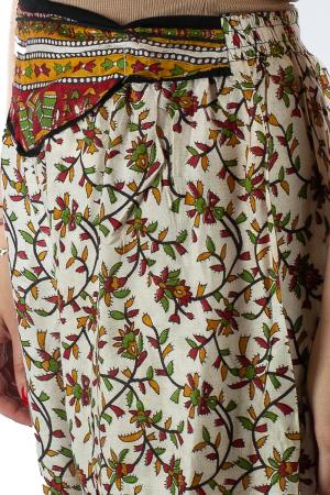 Pantaloni lejeri de vara albi cu floricele - J1013