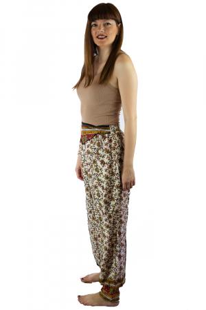 Pantaloni lejeri de vara albi cu floricele - J1012