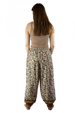 Pantaloni lejeri de vara albi cu floricele - J1015