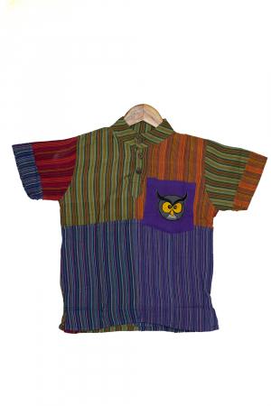 Camasa din bumbac de copii, Bufnita marimea XL - maneca scurta unicata M10