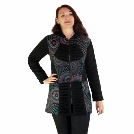 Jacheta femei – negru&mandale multicolore HI 2092A0