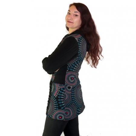 Jacheta femei – negru&mandale multicolore HI 2092A1