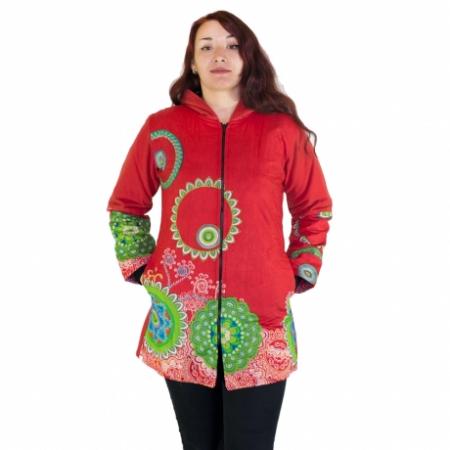 Jacheta femei – rosu&mandale colorate HI22090
