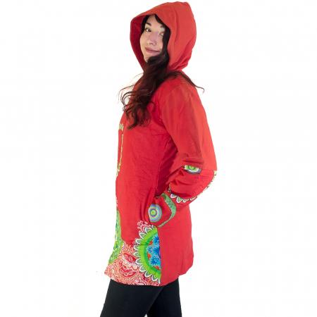 Jacheta femei – rosu&mandale colorate HI22091
