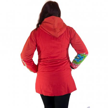 Jacheta femei – rosu&mandale colorate HI22092