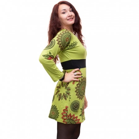 Rochie din bumbac verde cu mandala florala HI29131