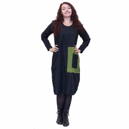 Rochie neagra cu patrat verde0