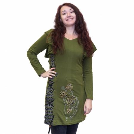 Rochie verde din bumbac cu broderie0