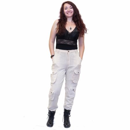 Pantaloni albi0