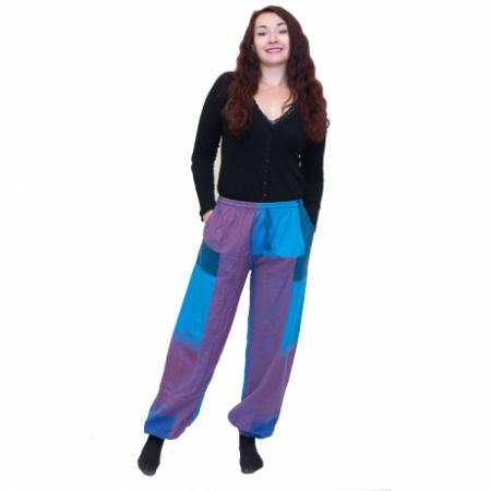Pantaloni albastru cu mov0