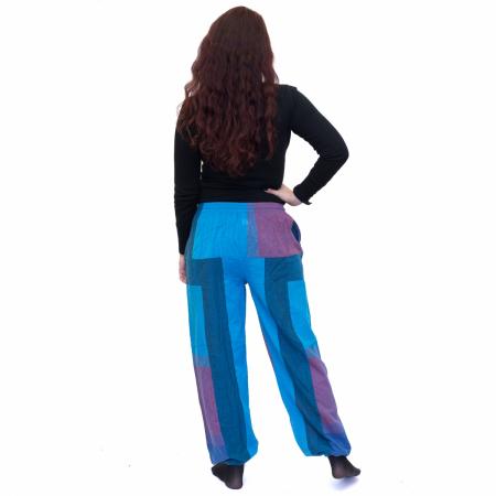 Pantaloni albastru cu mov2