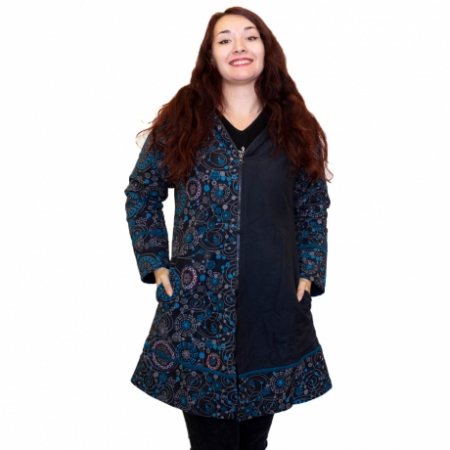 Jacheta de bumbac cu fermoar, print abstract – BLUE0