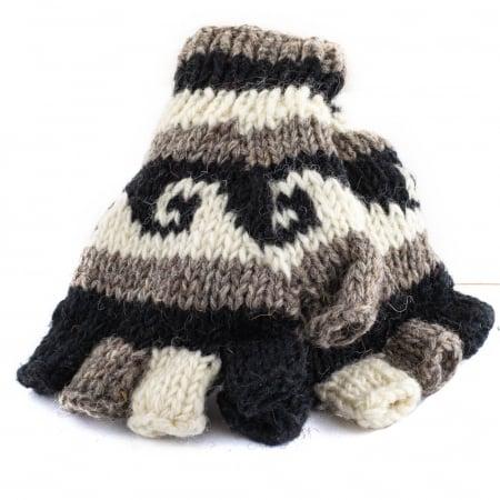 Manusi de lana fingerless - Dark tones0