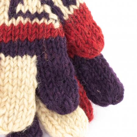 Manusi de lana fingerless - Red and purple2