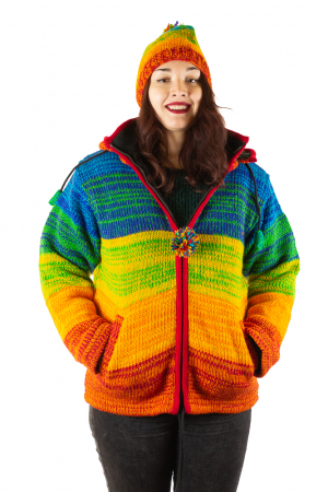 Jacheta din lana cu buzunare si captuseala polar- RAINBOW0