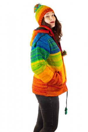 Jacheta din lana cu buzunare si captuseala polar- RAINBOW1