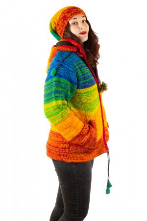 Jacheta din lana cu buzunare si captuseala polar- RAINBOW4