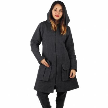 Jacheta din bumbac - GRI INCHIS0