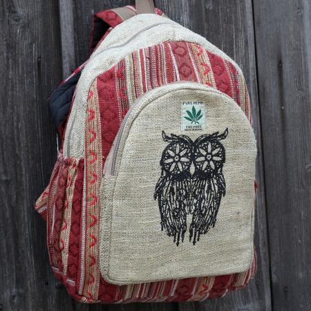 Rucsac din canepa si bumbac print - OWL 21