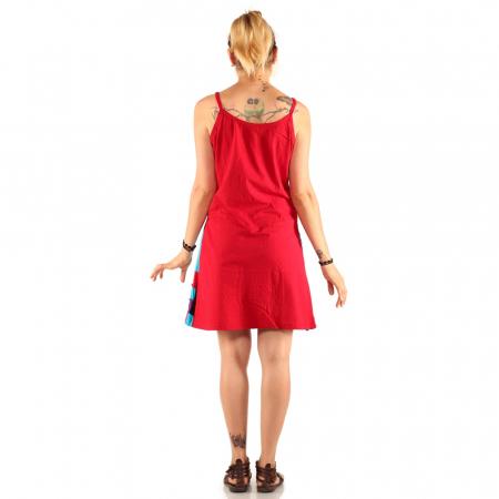 Rochie din bumbac rosie cu petice colorate - FERICIRE2