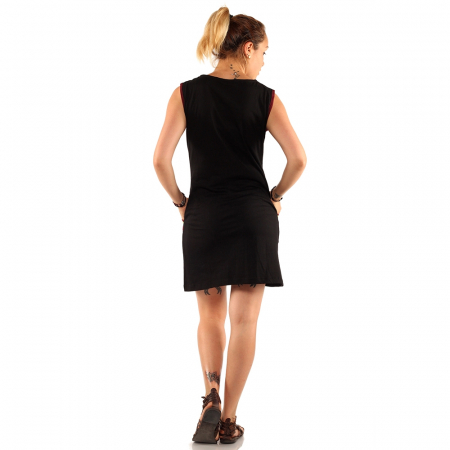 Rochie scurta neagra, cu aplicatii maro, din bumbac si - BUZUNARE2