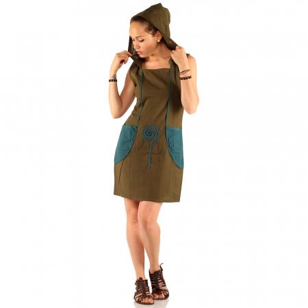 Rochie din bumbac cu buzunare - KAKI1