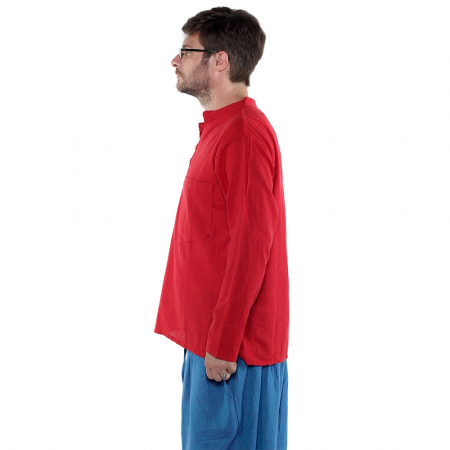 Camasa lejera de bumbac cu maneca lunga- ROSU [0]