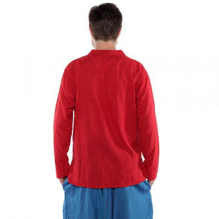 Camasa lejera de bumbac cu maneca lunga- ROSU [1]
