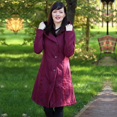 Jacheta din bumbac cu nasturi si fermoar - BORDO0