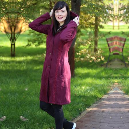 Jacheta din bumbac cu nasturi si fermoar - BORDO1