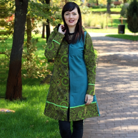 Jacheta de bumbac cu fermoar, print abstract Marime S – GREEN&BLUE0