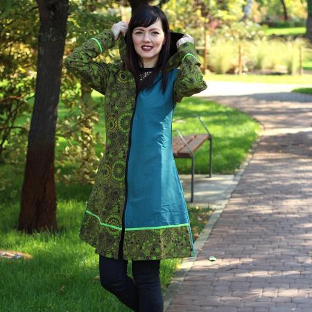 Jacheta de bumbac cu fermoar, print abstract Marime S – GREEN&BLUE1