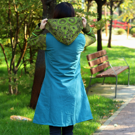 Jacheta de bumbac cu fermoar, print abstract Marime S – GREEN&BLUE2