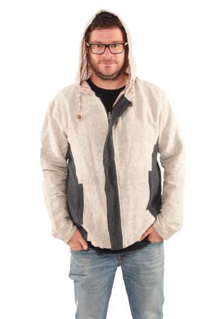 Jacheta barbateasca L - din bumbac - Gri cu negru0