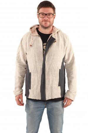 Jacheta barbateasca L - din bumbac - Gri cu negru1