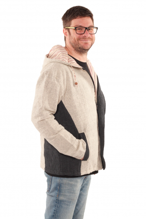 Jacheta barbateasca L - din bumbac - Gri cu negru3