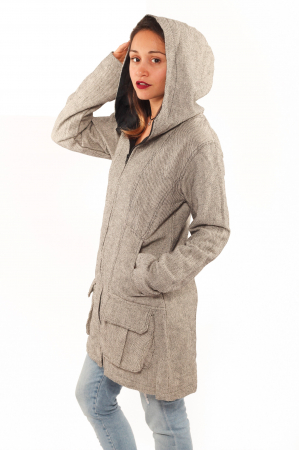Jacheta femei din bumbac - Gri simpla2