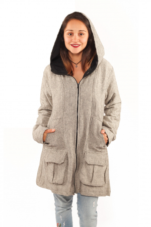 Jacheta femei din bumbac - Gri simpla0
